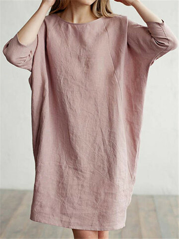 Casual Dress Baggy Cotton Dress