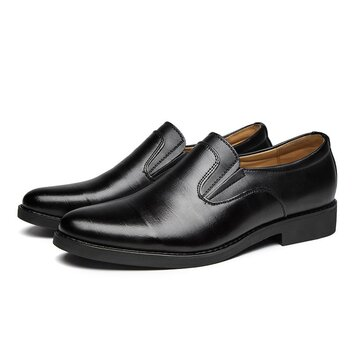 Men Pure Color Slip On Dress Shoes