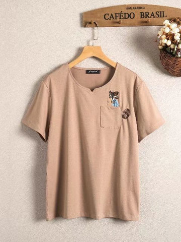 Casual Embroidery Short Sleeve T-Shirt