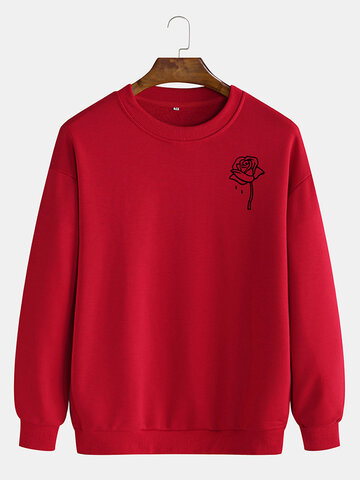 Cotton Rose Printing Plain Sweatshirts