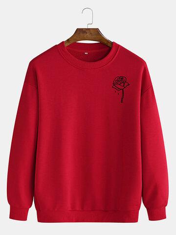 Cotton Rose Printing Plain Sweatshirts