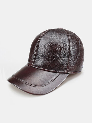 Men's Leather Hat First Layer Cowhide Big Brim Baseball Cap