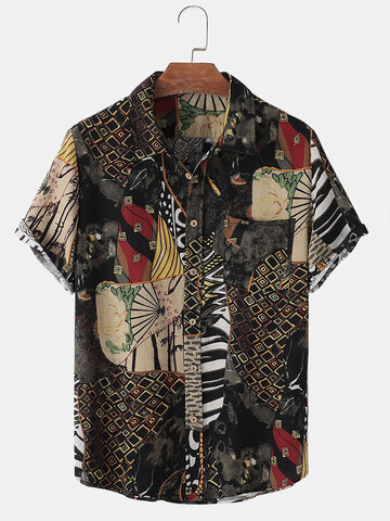 Estampado de algodón estilo étnico Camisa