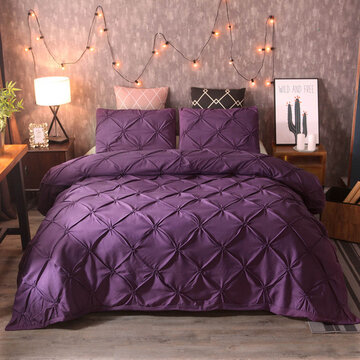 3Pcs Luxury Polyester Solid Color Bedding Set