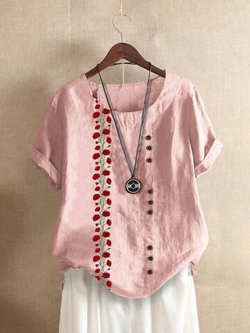 O-Neck Button T-Shirt mit Blumendruck