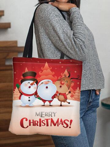 Canvas Christmas Print Tote Handbag