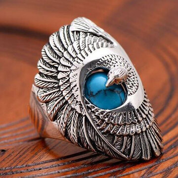Carved Eagle Wings Turquoise Ring