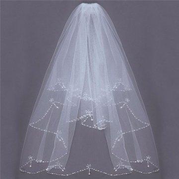 2 طبقات العروس مطرز حافة اللؤلؤ الأبيض العاج الزفاف الحجاب الزفاف مع مشط