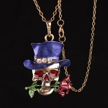 Funny Skull Rose Charm Necklace фото