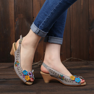 Hollow Floral Leather Sandals