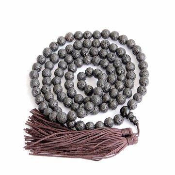 8mm Black Lava Stone Tibet Bouddhiste 108 Collier de perruques de prière