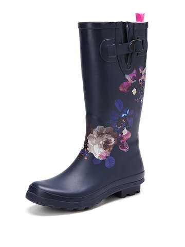Natural Rubber Low Heel Knee-high Rain Boots