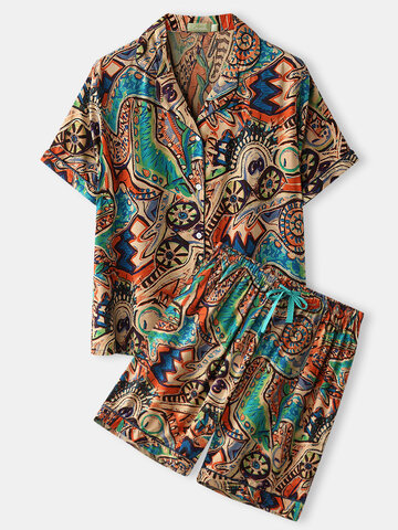 Plus Size Abstract Print Revere Loungewear