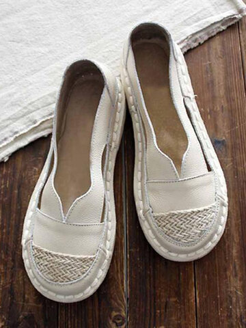 Hollow Stitching Slip-on Flats