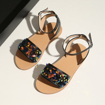 Girls Fashion Coloful Sequined Beach Sandals