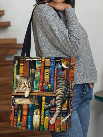 Cat Printing Waterproof Shopping Bag Shoulder Bag Handbag