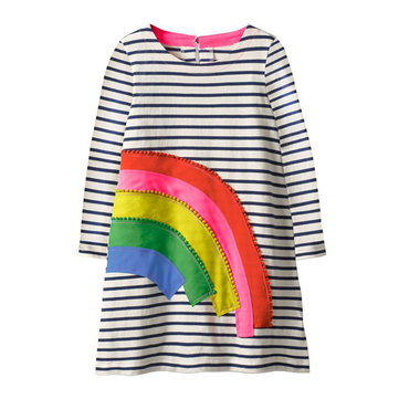 Filles Rainbow Stripe Casual Dress Pour 1-9Y