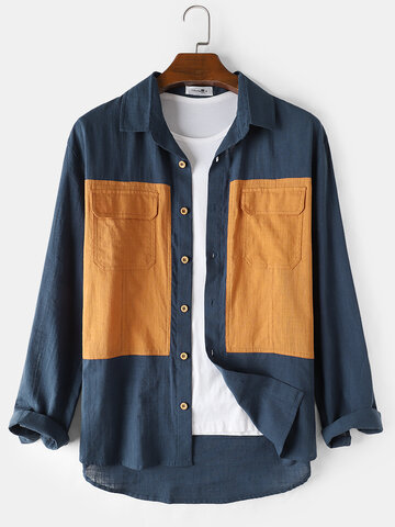 Cotton Colorblock Two Pocket Shirts