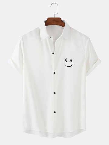 Solid Color Smile Face Print Shirts