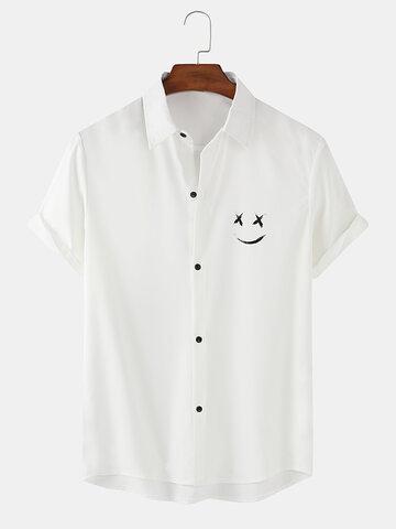 Camisas com estampa de sorriso em cores sólidas