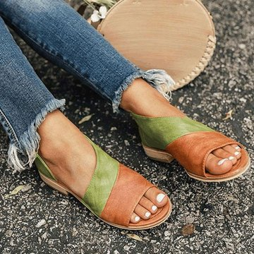 Side Open Flat Slide Sandals