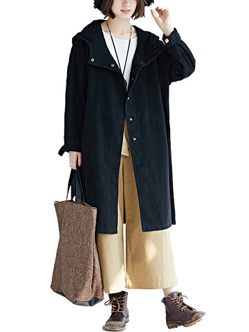 Hooded Long Corduroy Coat