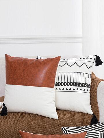 1PC Cotton Stitching Thick Stripes Tassel Creative Nordic Home Sofa Couch Car Bed Decorative Cushion Pillowcase Throw Cushion Cover Lumbar Waist Pillow Cover