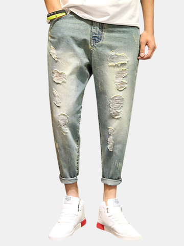 Holes Loose Ankle Long Jeans