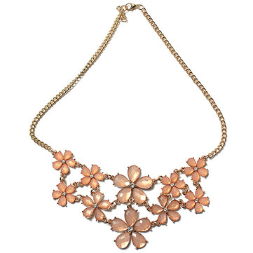 Crystal Flowers Pendant Statement Necklace
