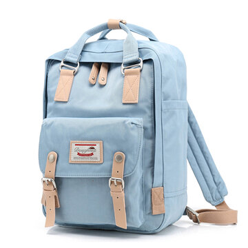 Women Canvas Stitching Color Student Bag Computer Bag