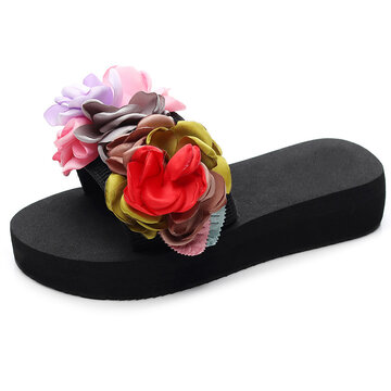 Flowers Decor Soft Bottom Casuals Flat Slippers
