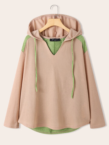 Casual Patchwork V-neck Hoodie