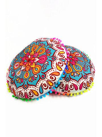 Gradient Bohemian Floral Mandala Round Seat Cushion Cover