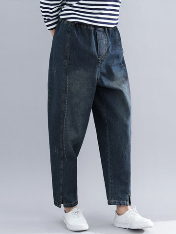Splited Solid Color Denim, Blue
