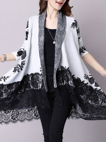Lace Embroidery Long Sleeve Irregular Cardigan