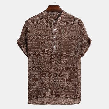 Impression abstraite de chemises Henley de style ethnique