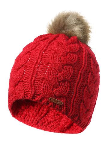 Knitted Fur Ball Beanie Cap