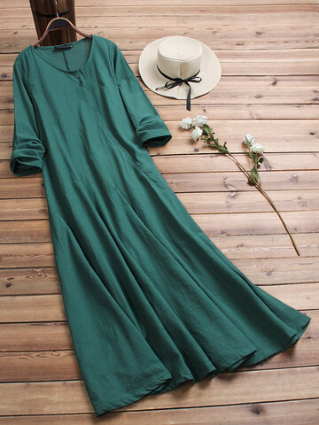 Vintage Pure Color Maxi Dress