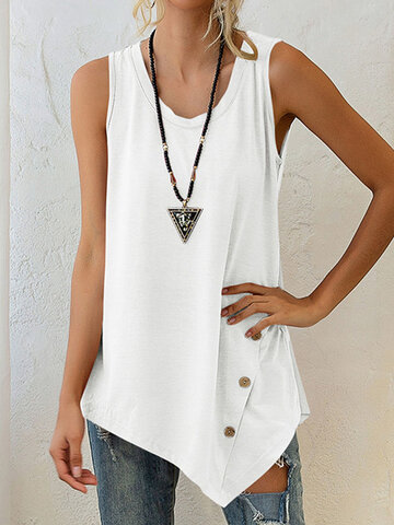 Solid Color Button Tank Top