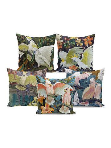 Tropical Flora And Fauna Retro Painting Parrot Peach Velvet Pillowcase Home Fabric Sofa Cushion Cover