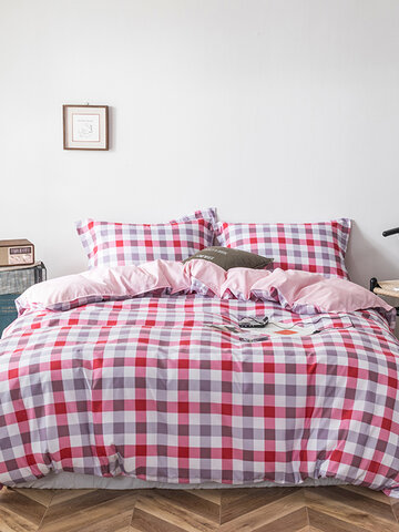 3/4 Pcs Plaid Color Block Aloe Cotton Bedding Skin-Friendly Printed Sheet Quilt Cover Pillowcase