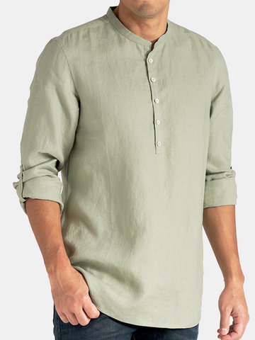 T-shirt da uomo casual in cotone e lino con colletto Henry