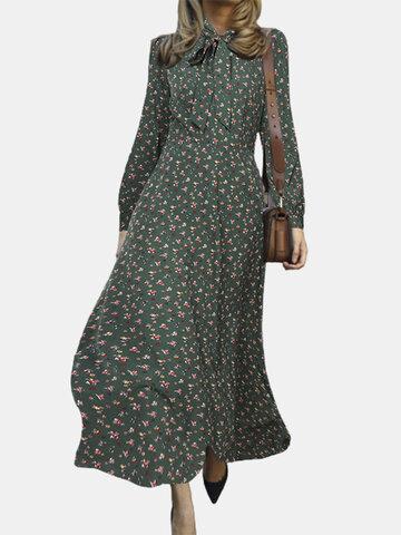 Floral Printed Bowknot Zipper Dress