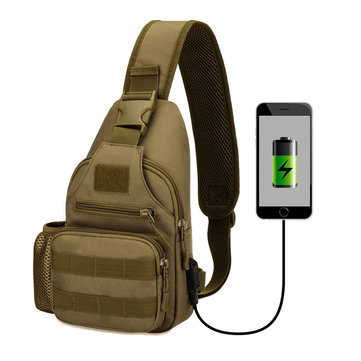 Men Waterproof USB Charging Multi-function Tactical Bag
