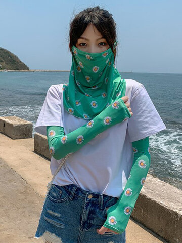 Ice Silk Sunscreen Veil Full Face Daisy Cover Face Mask Anti-UV Ice sleeve Hanging Ear Neck Mask
