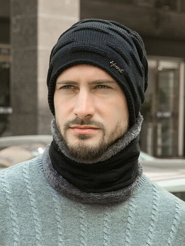 Men 2PCS Plus Velvet Thick Winter Scarf Wool Hat Beanie