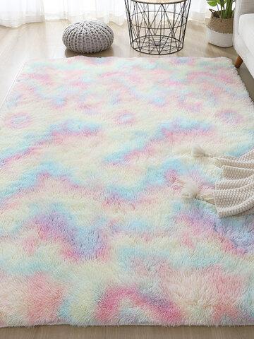 Gradient Rainbow Tie-dye Plush Carpet Living Room Bedroom Coffee Table Blanket Study Room Meeting Room Tatami Blanket