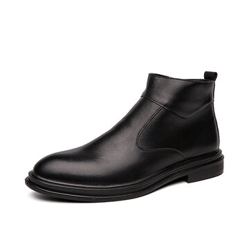Men Artificial Leather Black Casual Business Boots