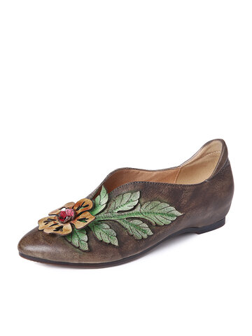 Retro Splicing Floral Flat Shoes