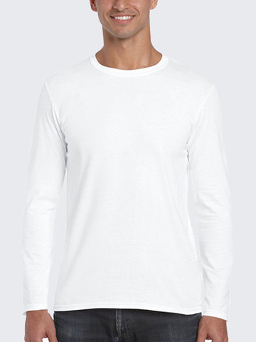 Mens 100% Cotton Solid Long Sleeve O-Neck Casual T-Shirt, White grey black navy